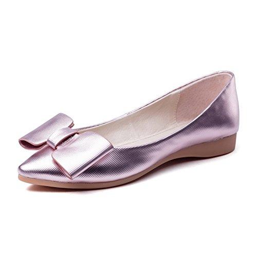AgooLar Damen Weiches Material Ziehen Auf Spitz Zehe Niedriger Absatz Rein Pumps Schuhe Pink