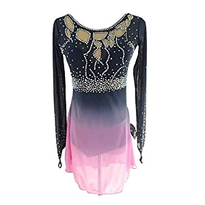 Eiskunstlauf Kleid Für Frauen Und Mädchen, Handarbeit Eislaufen Wettbewerb Professional Kostüm Mit Langärmeligen Schwarz Rosa Rollschuhkleid