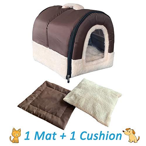 ANPI 2 In 1 Haustier Haus und Sofa, Maschinenwaschbar Anti-Rutsch FaltbareWeich Warm Hund KatzeHündchenKaninchenHaustier Nest Höhle Bett Haus mitAbnehmbaremMatratze, 3 Größen (S, braun