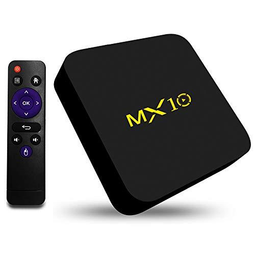 MX10 Android 8.1 TV Box de 4GB 32GB, Soporte 2.4G WiFi Connected 64bit Quad-Core 3D 4K HDR Reproducción de Video Smart TV Box [2018 Última Edición]