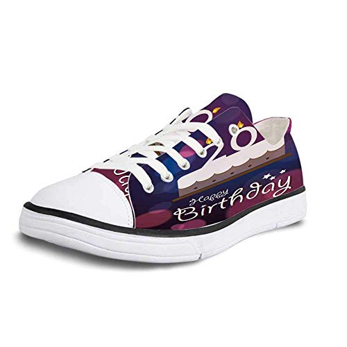 Women Canvas Sneaker Casual Low Top Flat Shoes,20th Birthday Decorations Twenty Birthday Cake Cartoon Design on Navy Blue Backdrop,Women 8 -