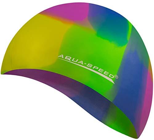 Aqua Speed Badekappe Herren | Silikon | Bademütze | Badehaube | Mehrfarbig + Aufbewahrungstasche Bunt / 73