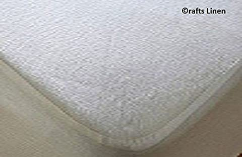 Crafts Linen Waterproof Mattress Protector Terry Cotton Euro Double Ikea Size (+25 CM) Pocket Depth White Solid Encasement style Breathable Waterproof Membrane SafeRest Premium by Crafts Linen