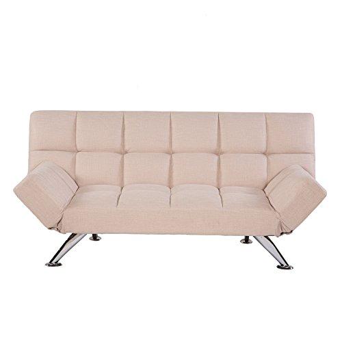 MACOShopde by MACO Möbel Schlafsofa Klappcouch Rückenteil und Armlehnen verstellbar Stoff beige meliert - 2/3er Sitzer