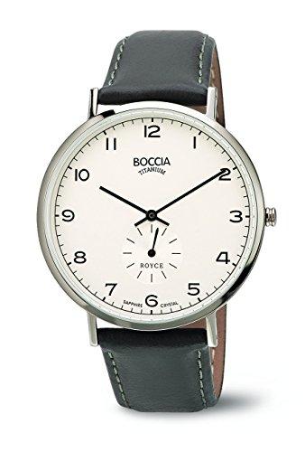 Boccia - 3592-01 - Montre Homme - Quartz - Analogique - Bracelet cuir gris