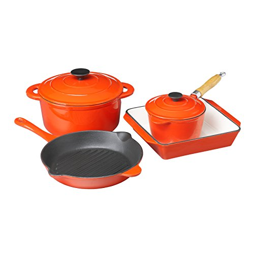 JML Country Cookware Cast Iron Pots & Pans with Deluxe Enamel Coating