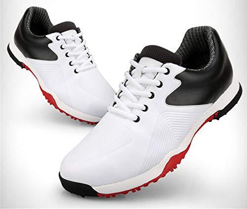 HJJGRASS PGM Golf Shoes Herren Anti-Rutsch-Schuhe mit Spikes Wasserdicht Bequem mit breiter, weicher Sohle Sportschuhe Herren Trainer Sneakers,whitered,43