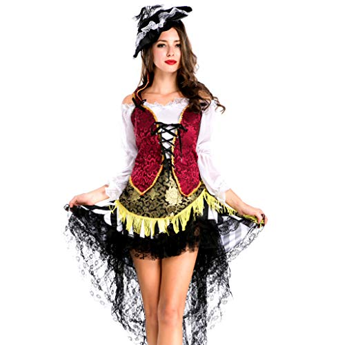 Piraten Kostüm Mädchen Meer Prinzessin - TINGSHOP Piraten Kostüme Frau Piraten Schiffskamerad Halloween Meere Schiff Fancy Dress Up Party Kostüm Outfit Rot + Schwarz Vintage Cosplay Spitze Weihnachten Halloween Party