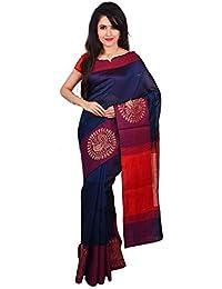 9bf325626151a Elegant Handlooms Semi-Silk Handloom Dark Lavender Hand Wovan Peacock Zarri  Border Saree With Unstitched