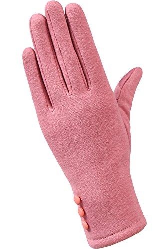 KHA Handschuhe Damen Flexibilität Winter Warme Hände Touchscreen (Rosa)