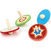 SODIAL(R) 4pcs Traditional Toy Wooden Small tops for Children