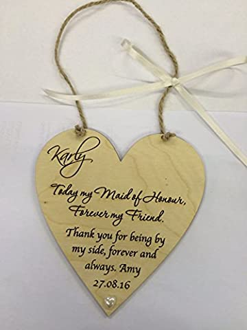 Maid of honour wedding favour thank you wooden heart plaque shabby chic gift keepsake birch plywood