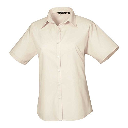 Premier Womens Poplin Long Sleeve Formal Work Blouse Shirt Natural
