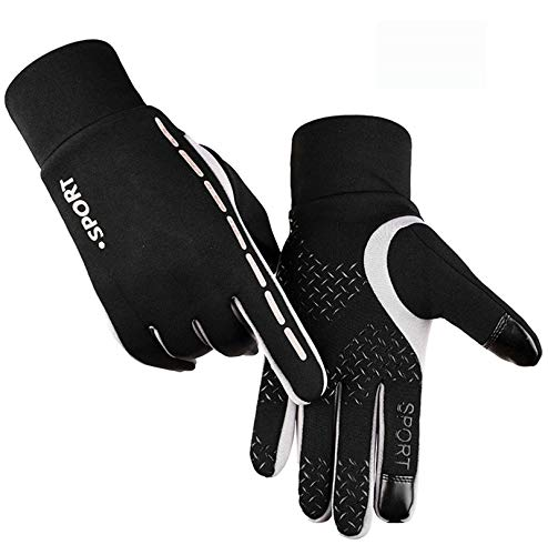 Frühling Snowboard Handschuhe (LOUMVE Laufhandschuhe Damen Herren Touchscreen Handschuhe Radfahren Fahrrad Sporthandschuhe für Winter Frühling Grey L)