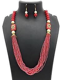 Satyam Kraft Traditional Kundan Maroon Pearl Necklace Set For Women For Wedding/diwali Jewellery/traditional Jewellery...
