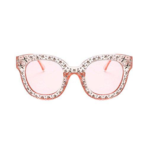 ZHANGYUSEN 2018 rosa Strass Sonnenbrille Star Frauen Unisex Braun Gläser Weiß Schwarz quadratischen Rahmen Farbtöne, rosa Rahmen