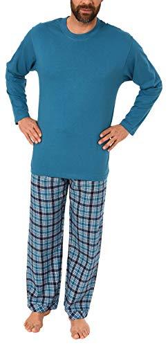 Herren Schlafanzug Pyjama lang mit Flanell Hose - auch in Übergrössen - 281 101 90 648, Größe2:48, Farbe:blau -