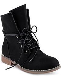 FiveSix Damen Stiefeletten Stiefel Blockabsatz Schnür Biker Boots Freizeit Schuhe