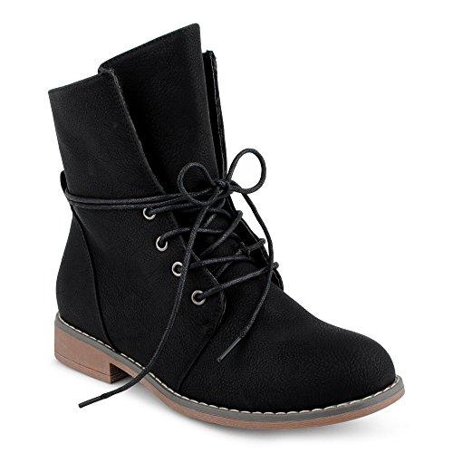 Damen Stiefeletten Stiefel Blockabsatz Schnür Biker Boots Freizeit Schuhe Schwarz/leichtgefüttert EU 37