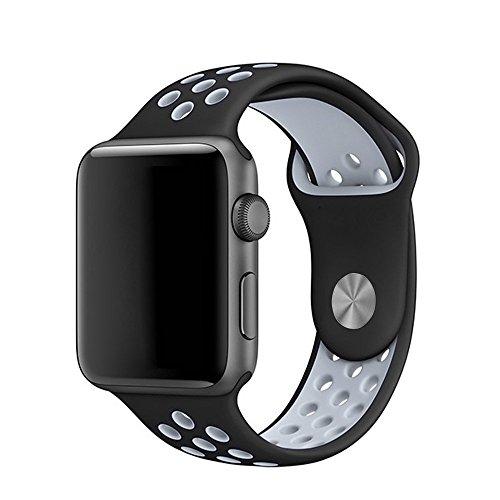 LEEHUR Apple Watch Armband 38mm, Serie 1/2 Sport Armbanduhr Silikonarmband Ersatzarmband Armband für Apple iWatch / Apple Uhr Nike + (38mm, Gray&Schwarz)