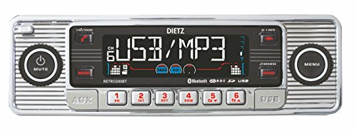 Dietz RETRO_200_BT Autoradio 1-DIN Retro Bluetooth-Radio CD, MP3, USB, SD, RDS, AUX mit Fernbedienung - Farbe: Chrom