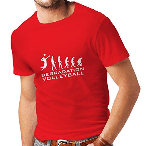 N4275 Männer T-Shirt Abbau Volleyball (Small Rot Weiß)