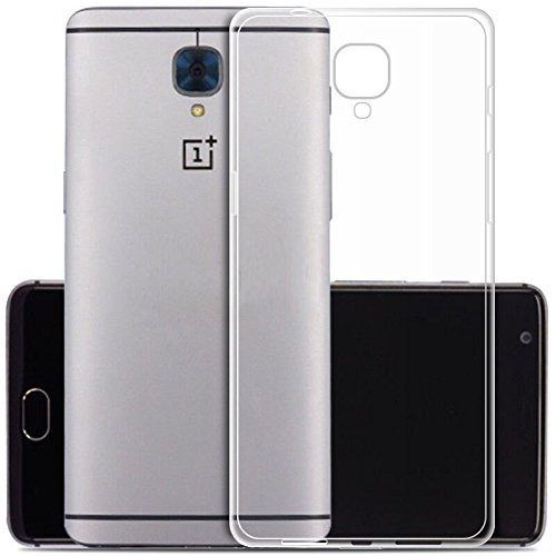 eCosmosTM Branded Ultra Thin 0.3mm Clear Transparent Flexible Soft TPU Slim Back Case Cover For Oneplus 3 / One Plus Three / One Plus 3 / Oneplus Three