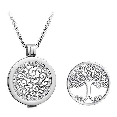 U&D Coins 33mm Halskette Damen Lebensbaum Anhänger Set Edelstahl