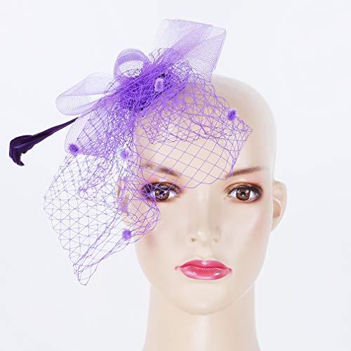kemai Atemberaubende Mesh Bow Stirnband Feder Haar Hut Cocktail Headwear für Braut Kopfschmuck, lila