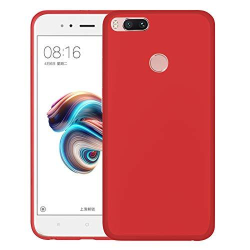 TBOC Funda de Gel TPU Roja para Xiaomi Mi A1 [5.5 Pulgadas] Carcasa de Silicona Ultrafina y Flexible para Teléfono Móvil