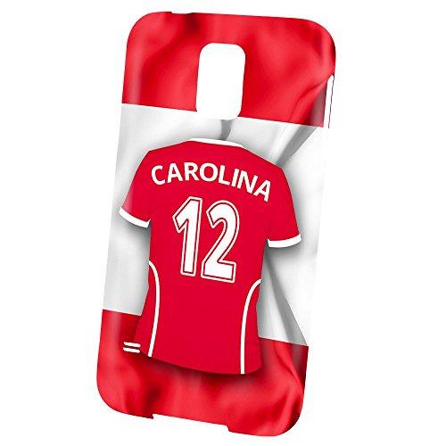 PhotoFancy Samsung Galaxy S5 Handyhülle Premium – Personalisierte Hülle mit Namen Carolina – Case mit Design Fußball-Trikot Österreich zur WM in Russland 2018