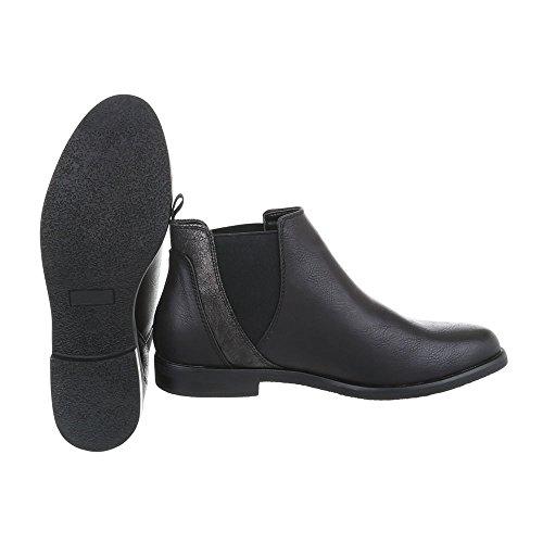 Ital-design Femmes Chaussures Bottes Block Heel Chelsea Bottes Noir