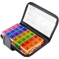 Preisvergleich für IPOTCH 7 Tage Tablettenbox Wochen Medikamentendosierer 7 Tage Pillenbox 4 Fächer/Tag mit Schutz-Hülle