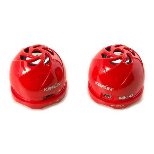Kraun Mini Speaker Stereo Glossy Red Bomb