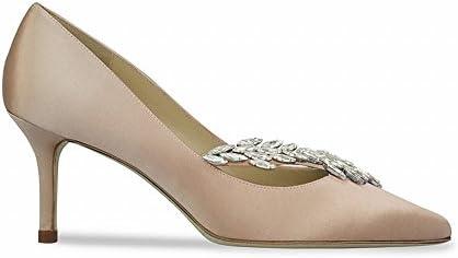 DIDIDD Verano Inclinado Zapatos de Novia de Tacón Alto Superficial Zapatos de Dama de Honor con Zapatos Pequeños...
