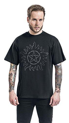 Supernatural Herren T-Shirt Anti Possession Symbol Baumwolle schwarz Schwarz