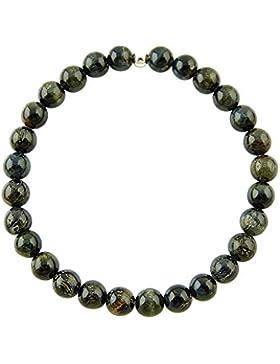 Sunsara Traumsteinshop Falkenauge Armband Edelstein Kugeln (Perlen) 6 mm und 925er Silberkugel Heilsteinarmband...