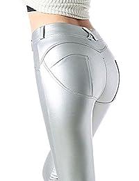 keephen Pantalones de Mujer S - 3XL Leggings de Tela mojada de Mujer Skinny  PU Leggings 2c9a33e98fef