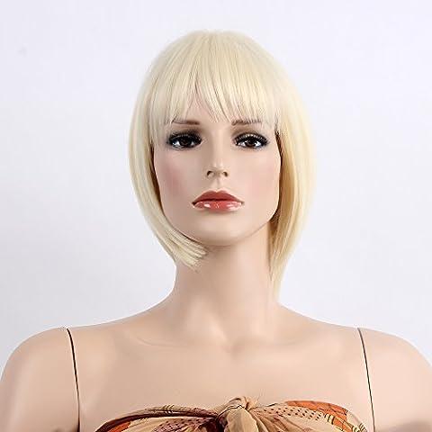 stfantasy kurz Perücken für Frauen Kunsthaar Gerade Hitzebeständig 31,8cm 107G mit Pony Wig peluca frei Hair Net + Clips, (Region 10 Kostüm)