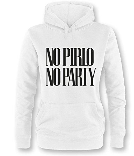 Luckja No Pirlo No Party Damen Hoodie Weiss/Schwarz