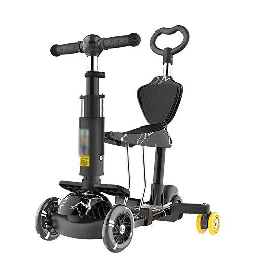 QFFL huabanche Scooter de tres ruedas Scooter para principiantes Niños de 3-12 años Twist Car Flash Triple Baby Carriage Bloque...