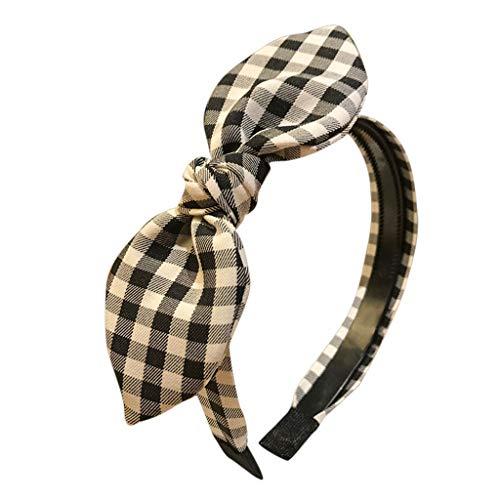 d Plaid Cross Tie Stirnband Haarband Hoop Haarband Haarband Prinzessin Retro Kopfschmuck ()