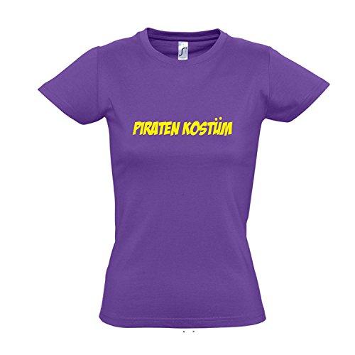 Kostüm T Shirt Damen Light - Damen T-Shirt - Piraten Kostüm FASCHING, KARNEVAL, PARTY SHIRT S-XXL , Light purple - gelb , XXL