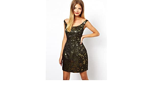 ASOS Women Vintage Woven Bardot Camo Jacqaurd Dress Evening Dress Prom dress (8): Amazon.co.uk: Clothing