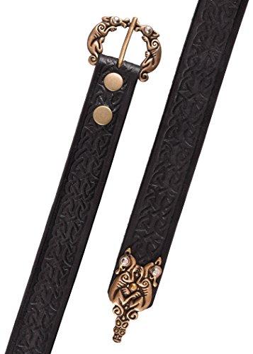 Battle-Merchant Ledergürtel mit Prägung in keltischem Muster, schwarz - LARP Gürtel aus Leder