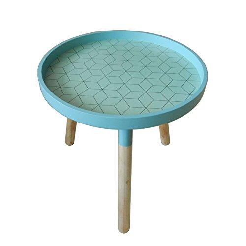 CVHOMEDECO. Élégant KD Table basse ronde en bois amovible rond Accent Table Table à thé portable avec 3 pieds amovibles. Diá.39,4 x H41 cm