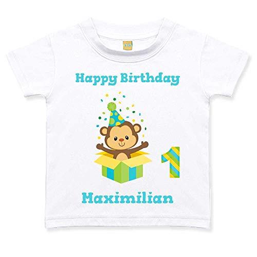 Geburtstagstshirt kurzarm Junge 1 Jahr weiß Affe Geschenk Geburtstag T-Shirt, Größe:12 bis 18 Monate