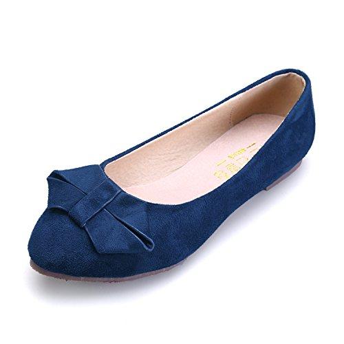 Smilun Damen Ballerina Flach Ballett Klassische Schleife Dunkel Blau