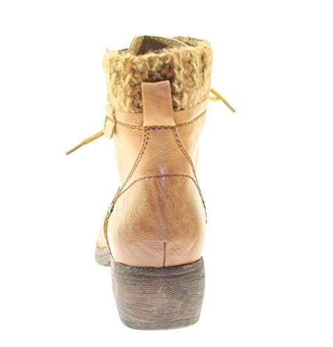 Stiefeletten Damenschuhe Farbe Camel/Cuero zum Schnüren Camel/Cuero
