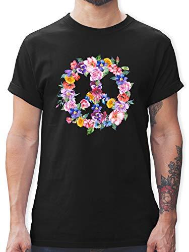 Statement Shirts - Peace Zeichen mit bunten Blumen - S - Schwarz - L190 - Tshirt Herren und Männer T-Shirts -